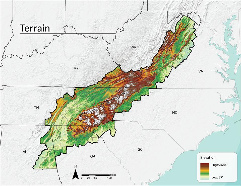 Terrain And Elevation Southern Appalachian Vitality Index